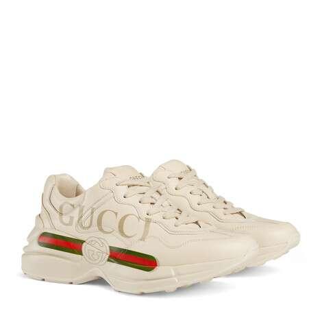 Rhyton系列女士Gucci标识皮革运动鞋