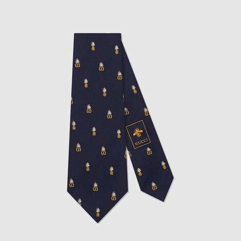 饰双G和菠萝印花真丝领带
