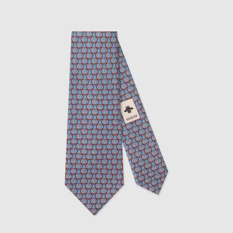 饰双G和心形提花真丝领带