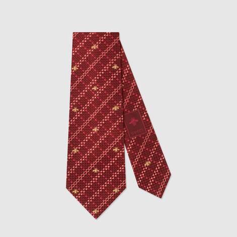蜜蜂格纹真丝领带