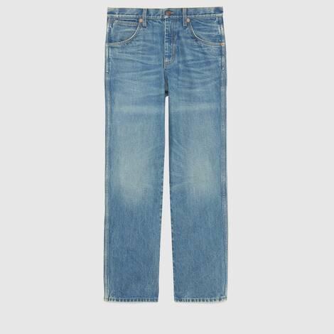 大理石纹水洗牛仔裤