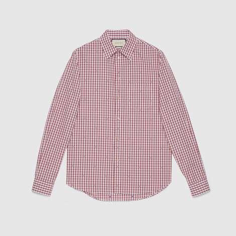 方形G图案切丝格纹衬衫