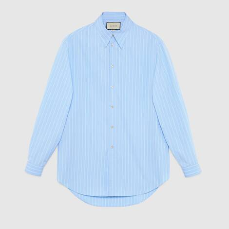 超大造型条纹棉质衬衫