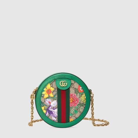官网专享Ophidia系列GG花卉圆形迷你肩背包