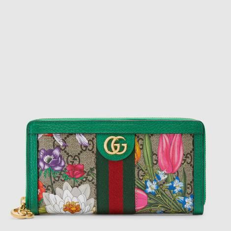 官网专享Ophidia系列GG花卉全拉链式钱包