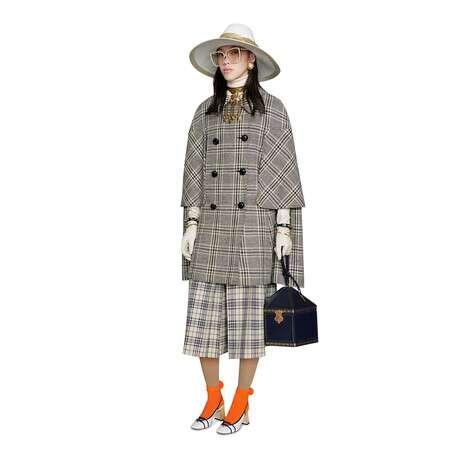 格纹羊毛斗篷大衣