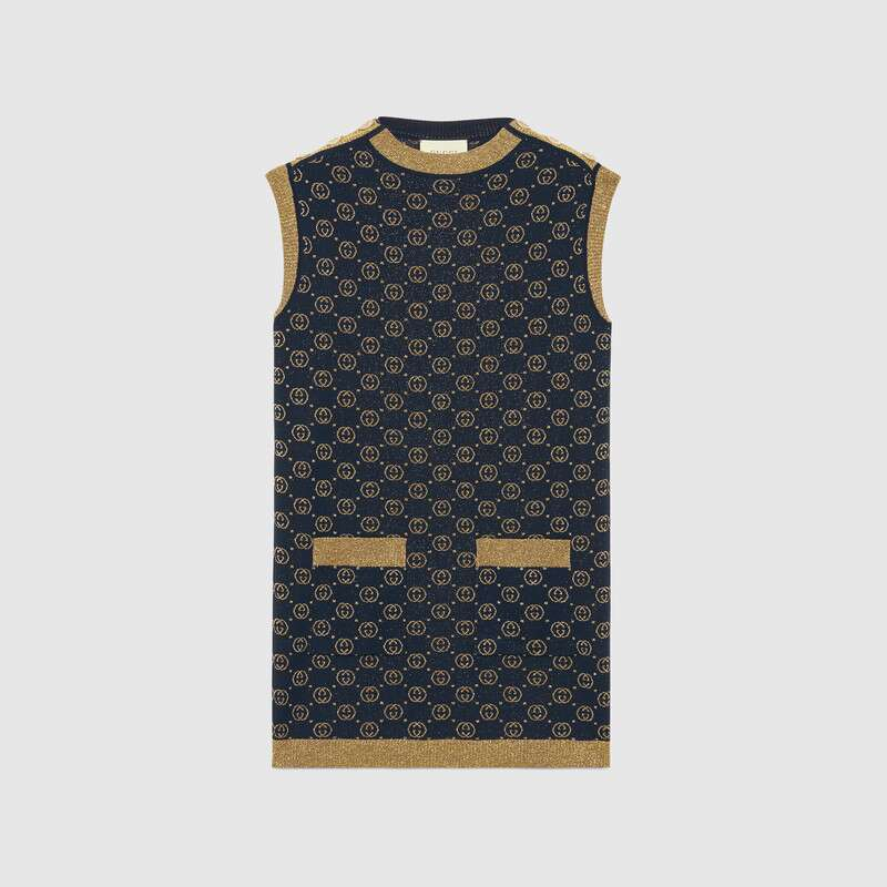 Gucci Dress INTERLOCKING G LAMÉ WOOL DRESS