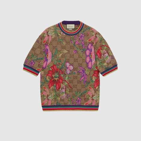 GG花卉羊毛提花上衣
