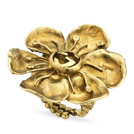花卉细节金属戒指