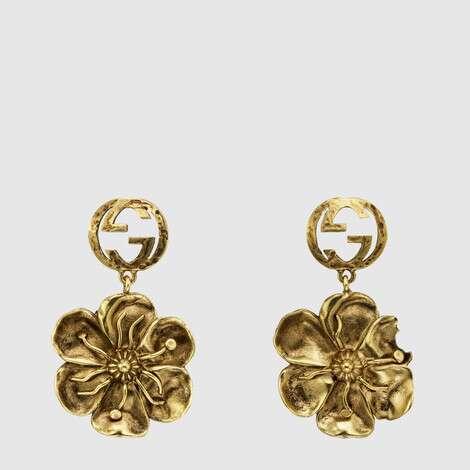 饰花卉细节金属耳环
