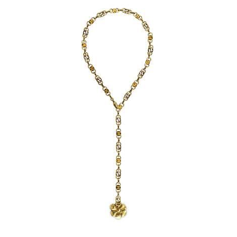 饰花卉细节金属项链