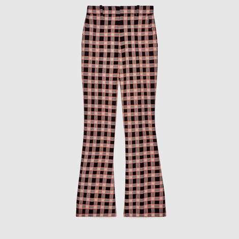 格纹花呢喇叭裤