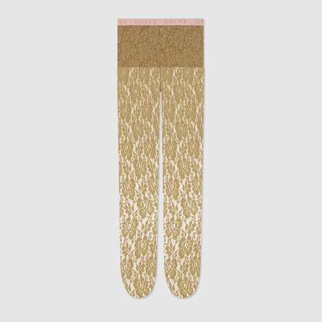 GG花卉图案蕾丝连裤袜