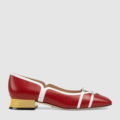 皮革芭蕾舞浅口鞋