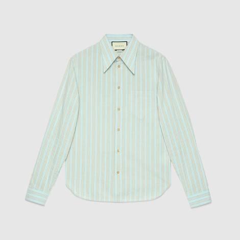 水洗条纹棉质衬衫
