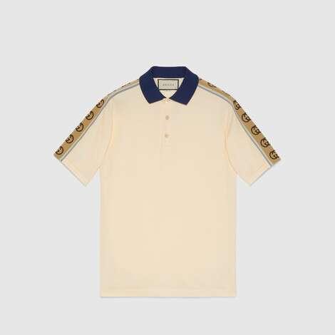 饰互扣式G条纹Polo衫
