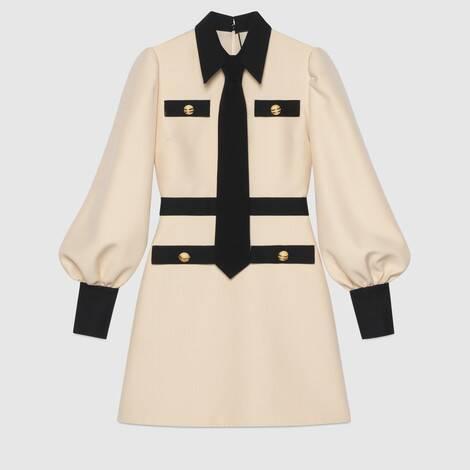 饰领带羊毛真丝混纺连衣裙