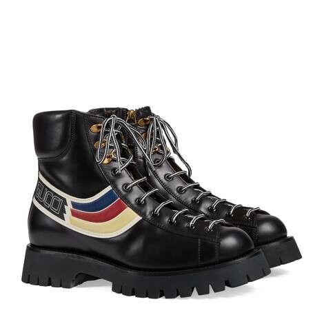饰条纹织带皮革踝靴