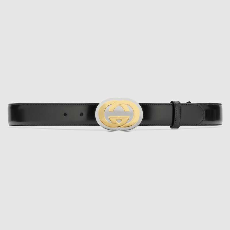 Gucci Belts LEATHER BELT WITH INTERLOCKING G BUCKLE