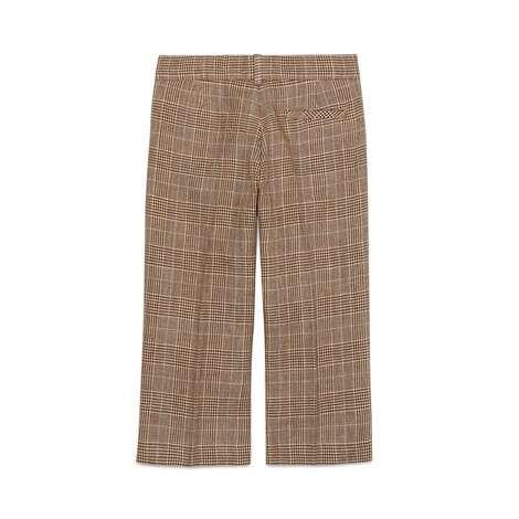 儿童格纹毛麻混纺长裤