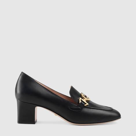 Gucci Zumi系列皮革中跟乐福鞋