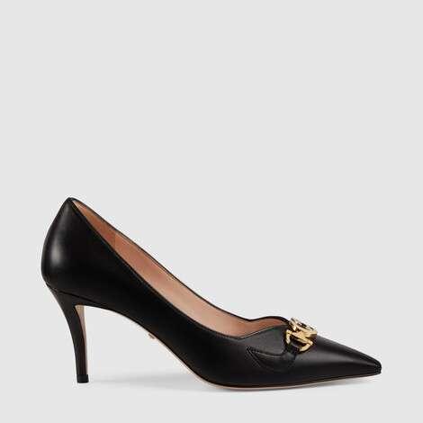 Gucci Zumi系列中跟皮革浅口鞋