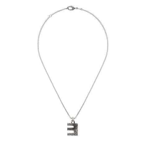 """字母""""E""""银项链"""