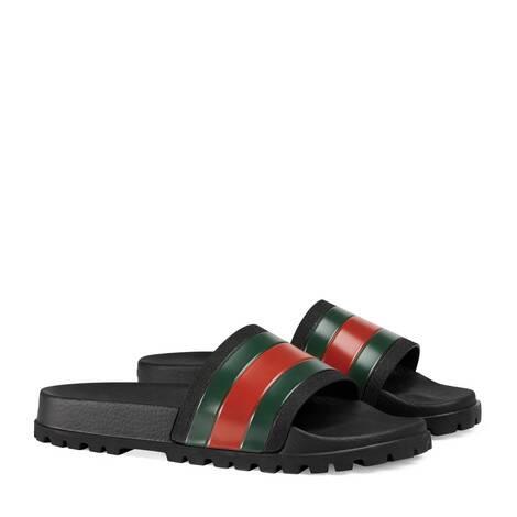 饰条纹织带拖鞋