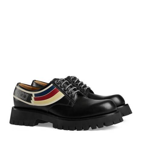饰条纹织带皮革系带鞋