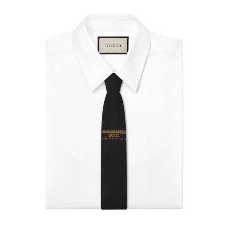 扭结下方缝纫标签羊毛真丝混纺领带