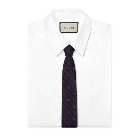 互扣式G条纹真丝领带