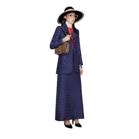 GG斜纹羊毛真丝半身裙
