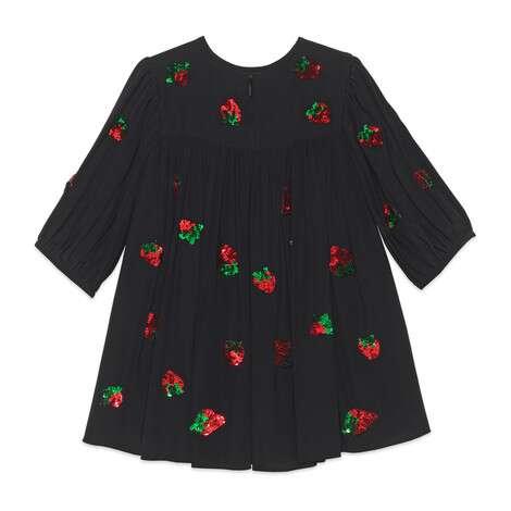 儿童饰亮片草莓真丝连衣裙