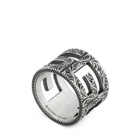 方形G图案纯银戒指