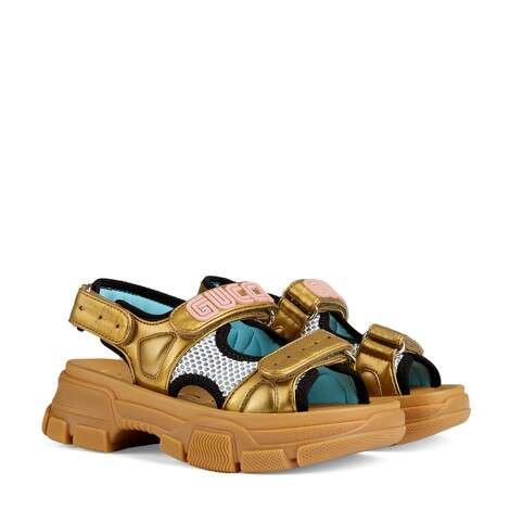 儿童金属质感皮革和网纱凉鞋