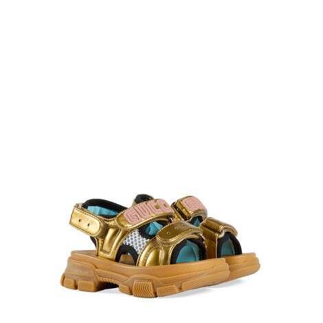 幼儿金属质感皮革和网纱凉鞋