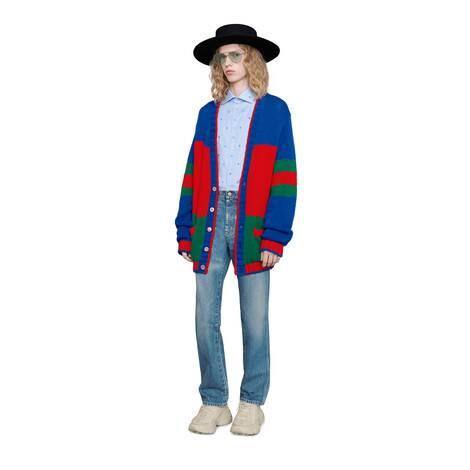 超大造型条纹羊毛开衫
