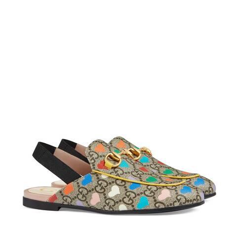 Princetown系列儿童GG心形印花拖鞋