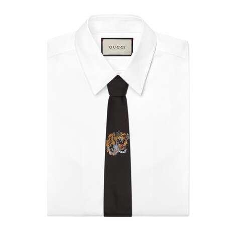扭结下方老虎图案真丝领带