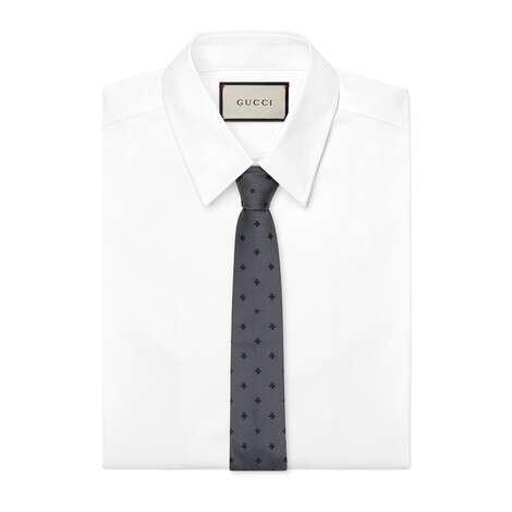 蜜蜂和星星装饰真丝领带