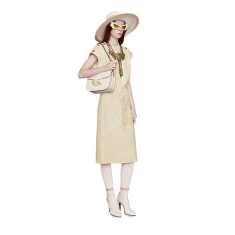 GG斜纹羊毛真丝连衣裙