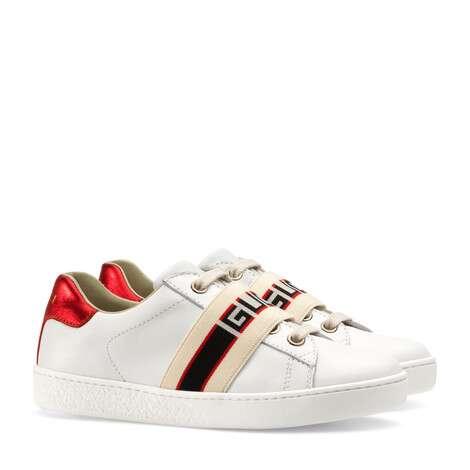 儿童Gucci条纹皮革运动鞋