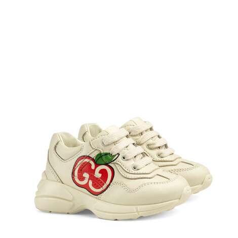 Rhyton系列幼儿GG苹果印花运动鞋