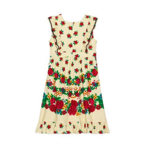 儿童花朵和马镫印花棉质连衣裙