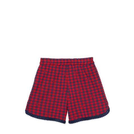 儿童方形G扣格纹棉质短裤