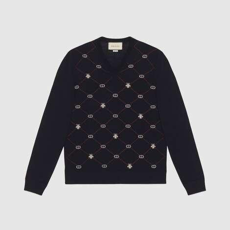 标志性符号图案羊毛提花V领毛衣