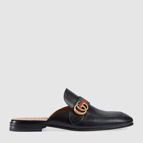 Princetown 系列双G皮革拖鞋