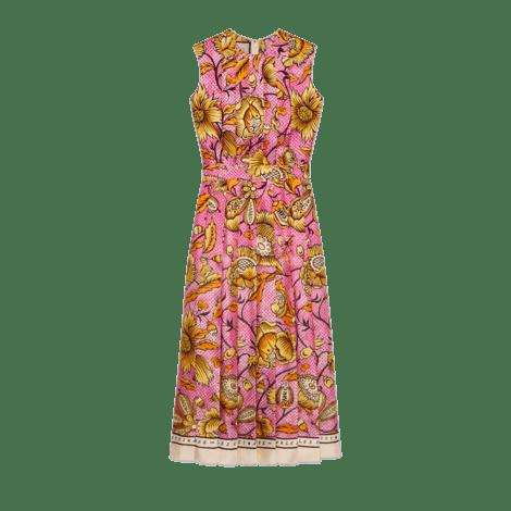 水彩花朵真丝连衣裙