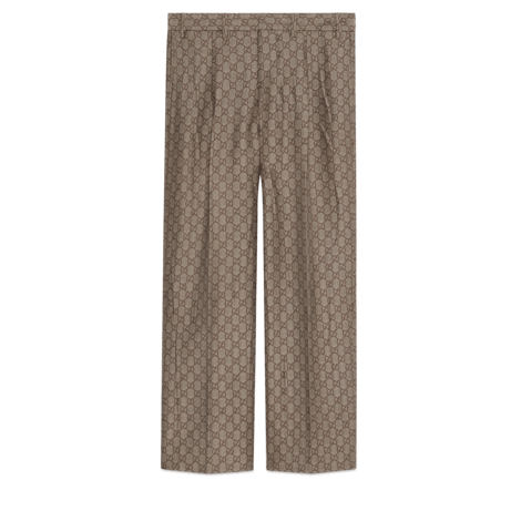 GG羊毛帆布正装长裤