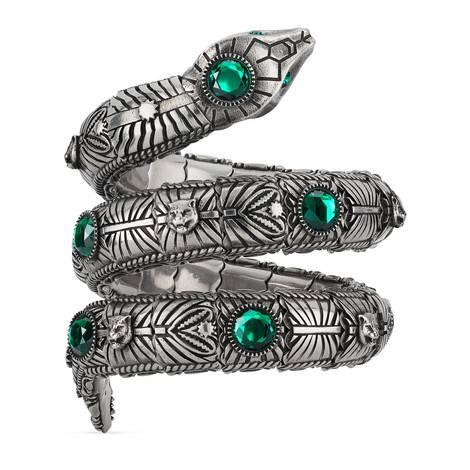 饰水晶三环灵蛇手镯